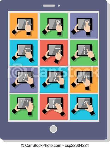 toucher, gestes, tablette - csp22684224