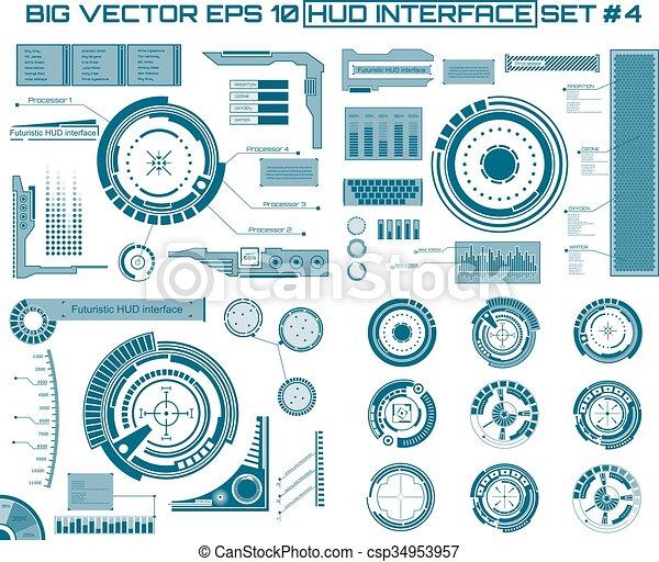 toucher, interface, graphique, hud., utilisateur - csp34953957