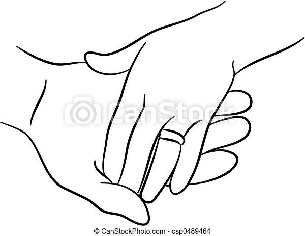 Simple Tendrement Deux Toucher Mains Dessin Ligne