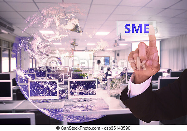 touching SME  or  small and medium-sized enterprises  on virtual screen vintage tone , image element furnished by NASA - csp35143590