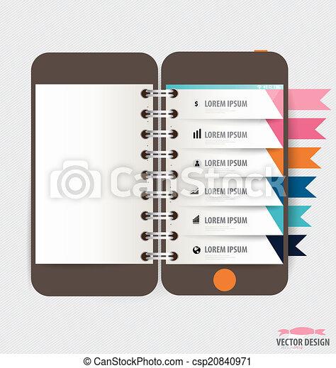 touchscreen, coloré, infographic, conception, appareil, template. - csp20840971