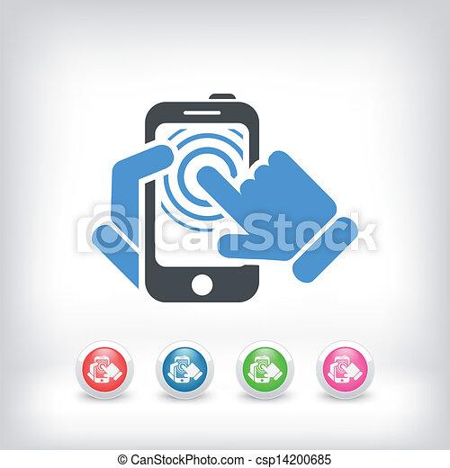 touchscreen, concept, smartphone, icône - csp14200685