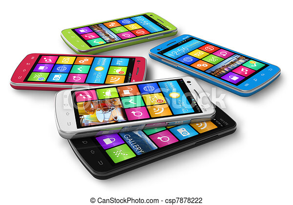 Un juego de teléfonos de colores - csp7878222