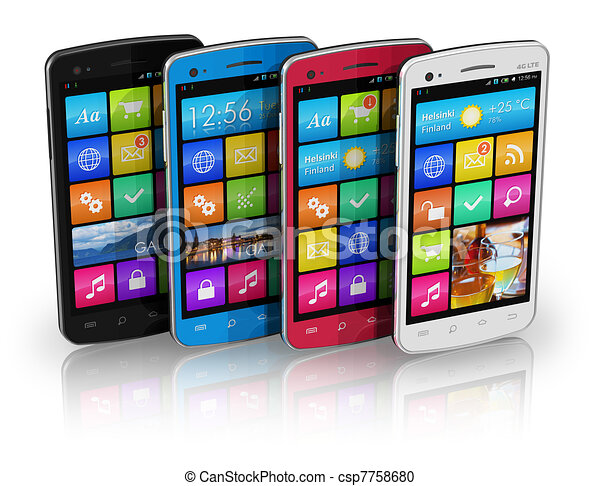 Un juego de teléfonos de colores - csp7758680