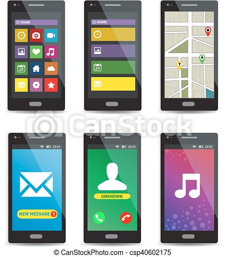 Un conjunto de teléfonos inteligentes con aplicaciones en pantallas aisladas en el fondo blanco - csp40602175