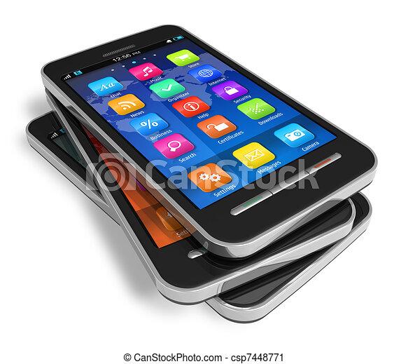 Un conjunto de smartphones de pantalla táctil - csp7448771