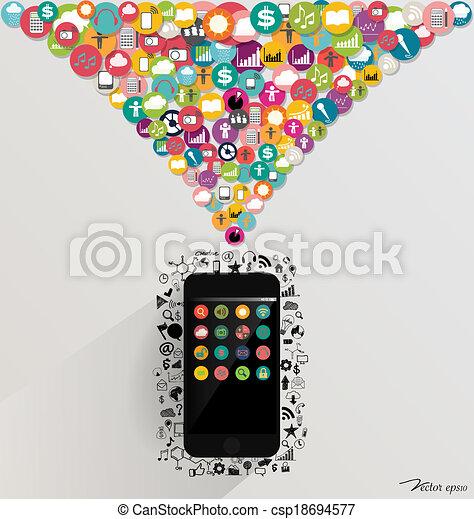 Dispositivo de pantalla con una nube de aplicación colorida. Ilustración de vectores. - csp18694577