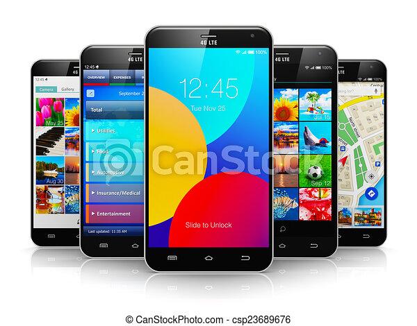 Colección de smartphones modernos de pantalla táctil - csp23689676