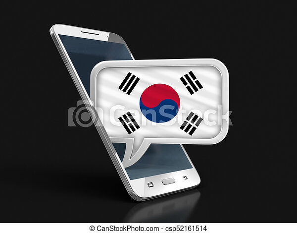 Touchscreen smartphone and Speech bubble with South Korean flag. Image - csp52161514