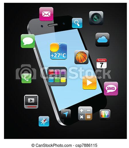 touchscreen, smartphone, concept. - csp7886115