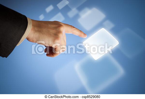 touchscreen, taste, virtuell, hand, drücken, abstrakt - csp8529080