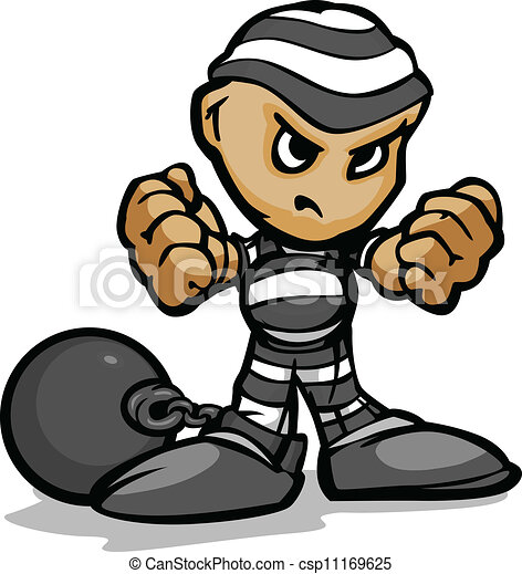 Tough Guy Cartoon Prisoner with Ball and Chain Vector Graphic - csp11169625