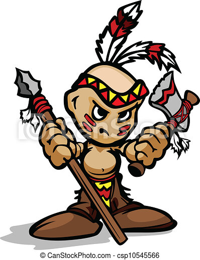 tough indian kid with feathers cartoon vector Indian Chief Head Logo Indian Mascots and Logos