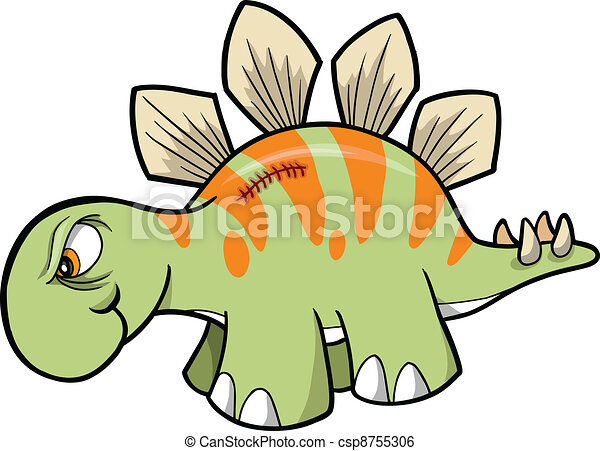 Tough Stegosaurus Dinosaur Vector - csp8755306