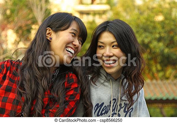 toujours, concept, projection, leur, femme, asiatique, amitié - csp8566250