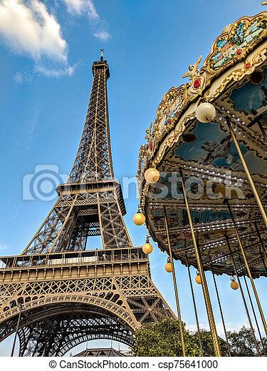 tour, carrousel, eiffel - csp75641000