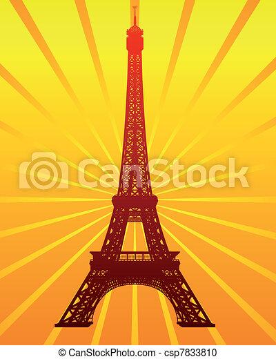 tour, eiffel, silhouette - csp7833810