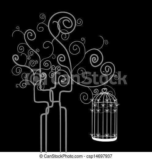 Tourbillon Arbre Mettez Cage Oiseau Vecteur Fichier Coloring