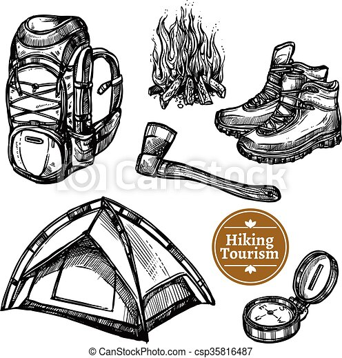 Tourism Camping Hiking Sketch Set - csp35816487