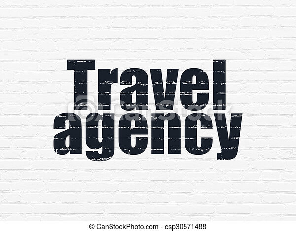 Tourism Concept Travel Agency On Wall Background