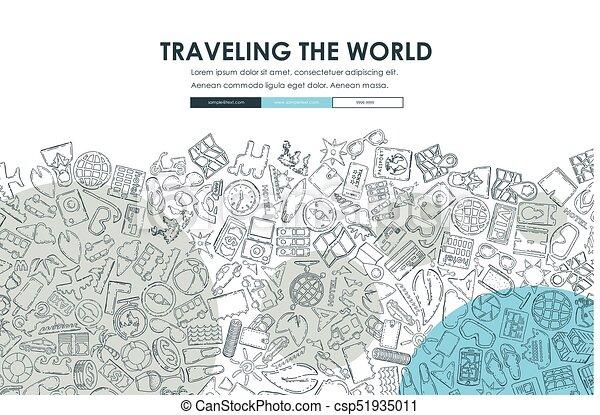 tourism doodle website template design tourism website template
