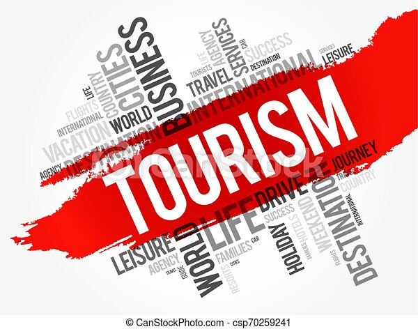Tourism word cloud collage - csp70259241