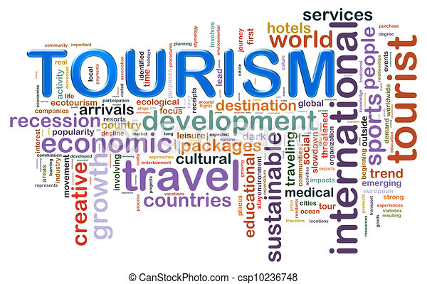tourism word tags illustration of wordcloud representing concept of