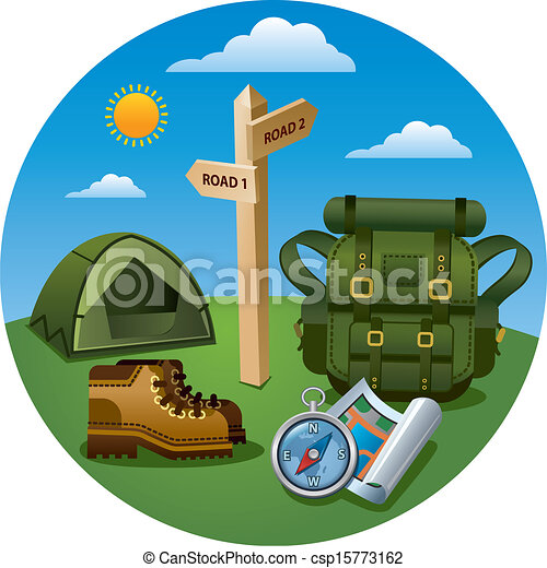 tourisme, randonnée, icône - csp15773162