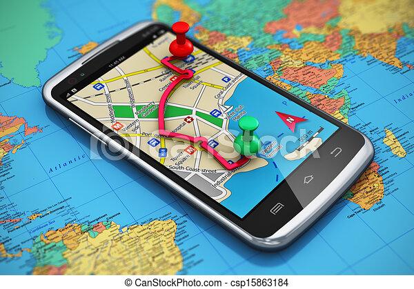 tourisme voyage, gps, concept, navigation - csp15863184
