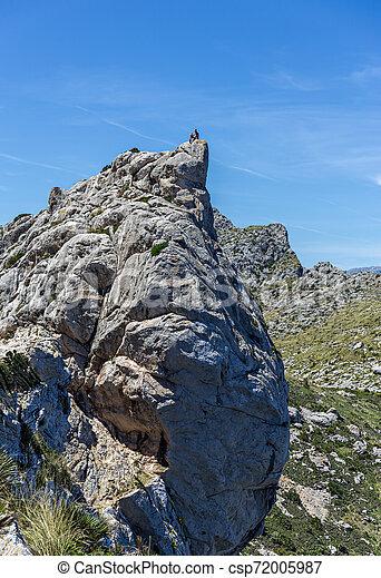 Tourist at the top of the cliff, Cap de formentor, Mallorca Spain - csp72005987
