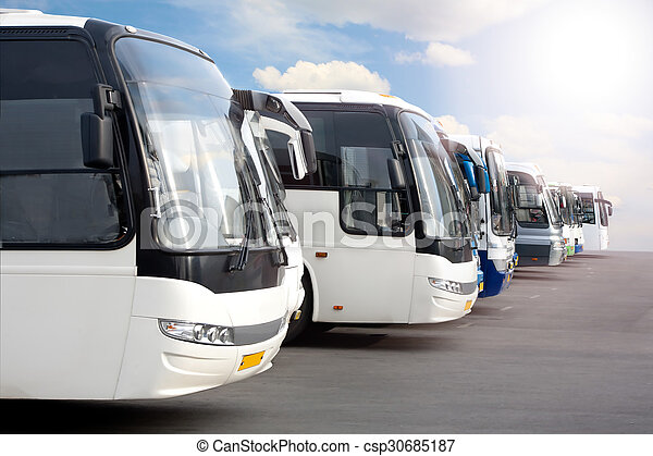 tourist buses on parking - csp30685187