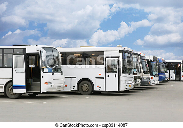 tourist buses on parking - csp33114087