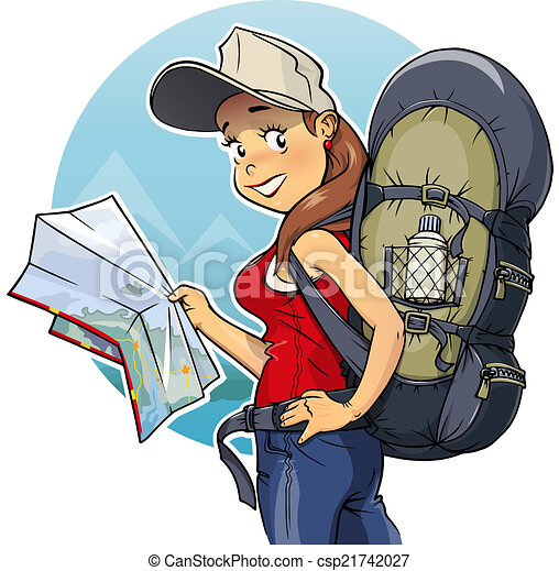 Tourist girl with rucksack and map - csp21742027