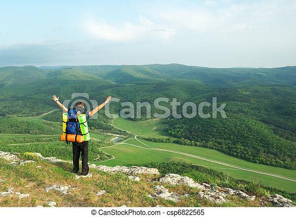 Tourist in mountain. - csp6822565