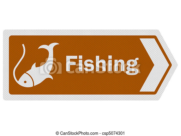 Tourist information series: photo-realistic metallic, reflective 'fishing' sign, isolated on white - csp5074301