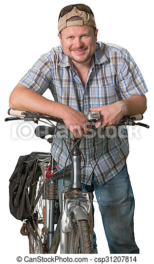 Tourist man standing with a bicycle on white background - csp31207814