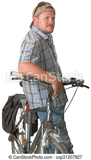 Tourist man standing with a bicycle on white background - csp31207827