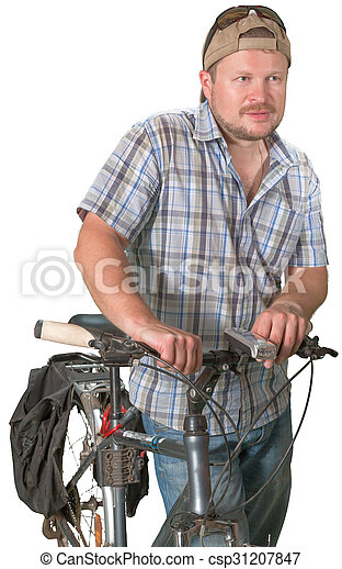 Tourist man standing with a bicycle on white background - csp31207847