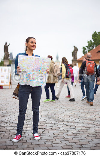tourist on Charles Bridge - csp37807176