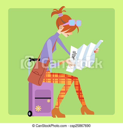 Tourist sitting on the suitcase and looks at the map at the airport or at the railway station - csp25867690