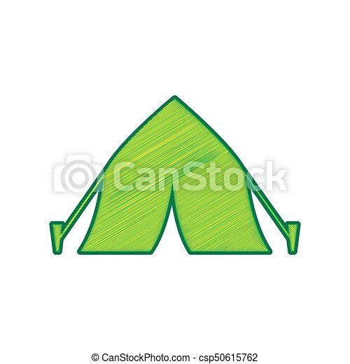Tourist tent sign. Vector. Lemon scribble icon on white background. Isolated - csp50615762