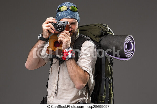 tourist with camera - csp28699097