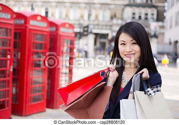 tourist with shopping bags - csp28808120