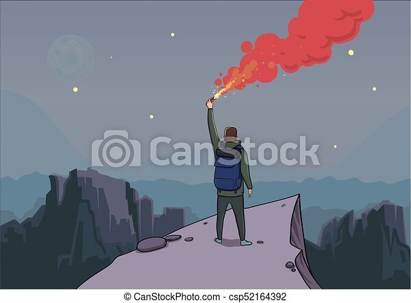 Tourist with the flare on a mountain is looking from the top. Backpacker on a rock. Torch in hand. Mountain landscape in the twilight. Stars and the Moon. Vector illustration cartoon character. - csp52164392