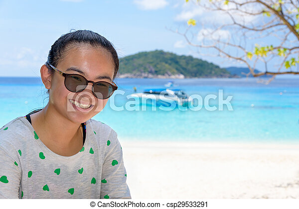 Tourist woman on the beach at Similan islands, Thailand - csp29533291