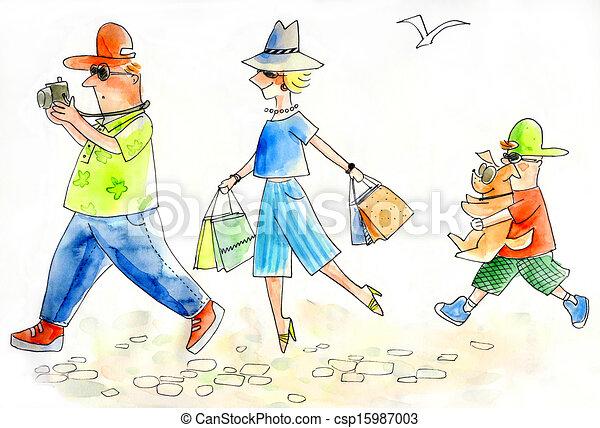 Familie der Touristen - csp15987003