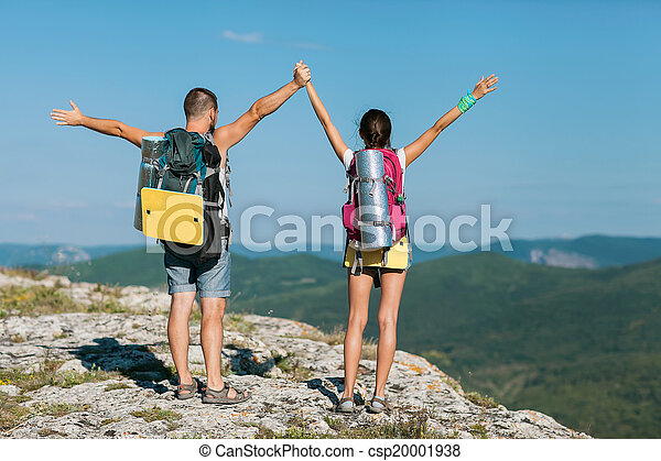 touristes, montagne, deux, stand - csp20001938