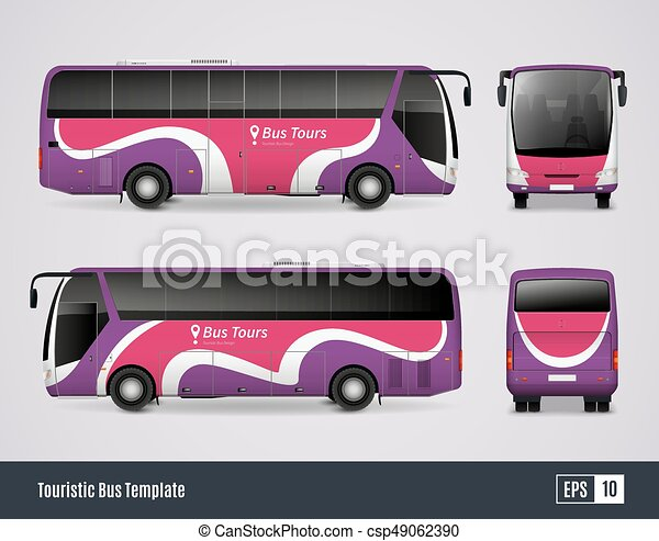touristic bus template in realistic style touristic bus template in