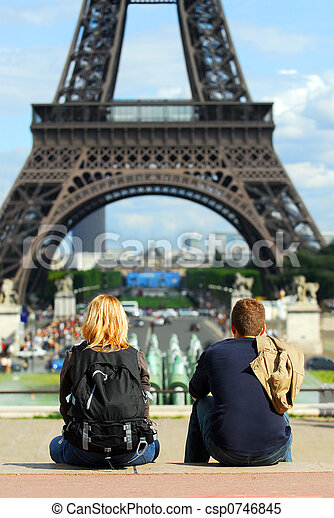 Tourists at Eiffel tower - csp0746845