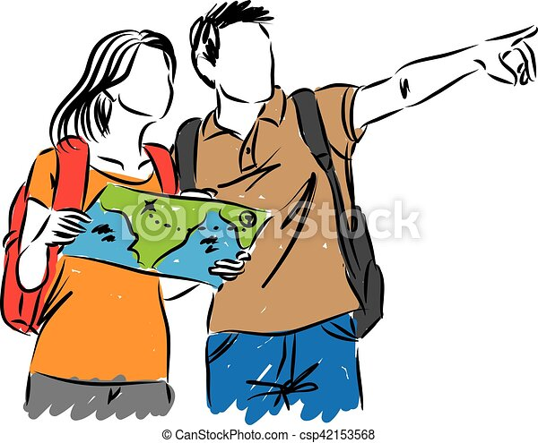 tourists with a map illustration clip art vector search drawings rh canstockphoto com tourist clipart vector clipart tourist guide